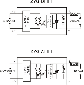 上海卓一zyg-a4880单相固态继电器 交流控交流固态继电器80a